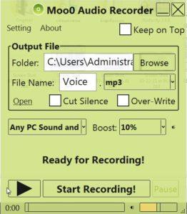 โปรแกรมบันทึกเสียงMoo0 VoiceRecorder โปรแกรมบันทึกเสียงทั้งในและจากภายนอกคอม เหมาะสำหรับชาววิทยุ