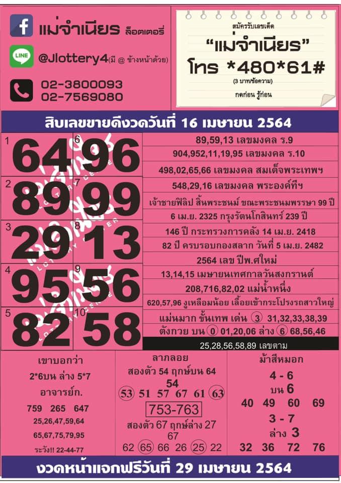 10 อันดับขายดีหวยแม่จำเนียร ประจำวันที่ 16 เมษายน 2564